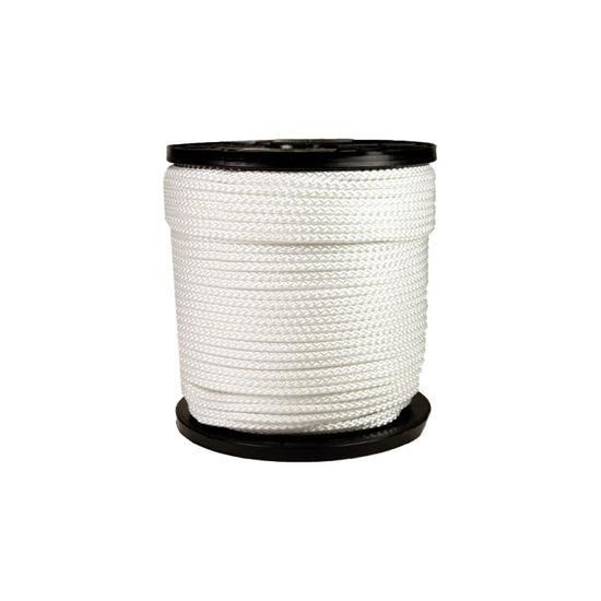 Afbeeldingen van Nylon gevlochen wit. 6MM, per meter