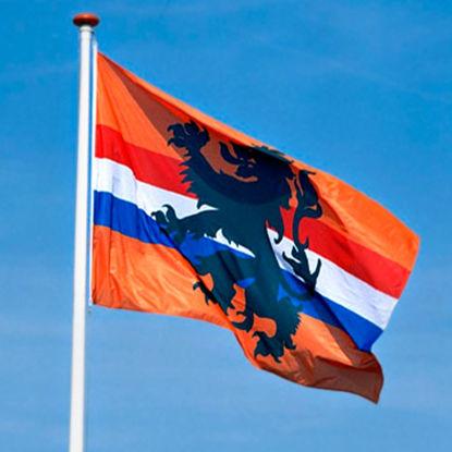 Afbeeldingen van Vlag Oranje rood/wit/blauw + leeuw 100 x 150